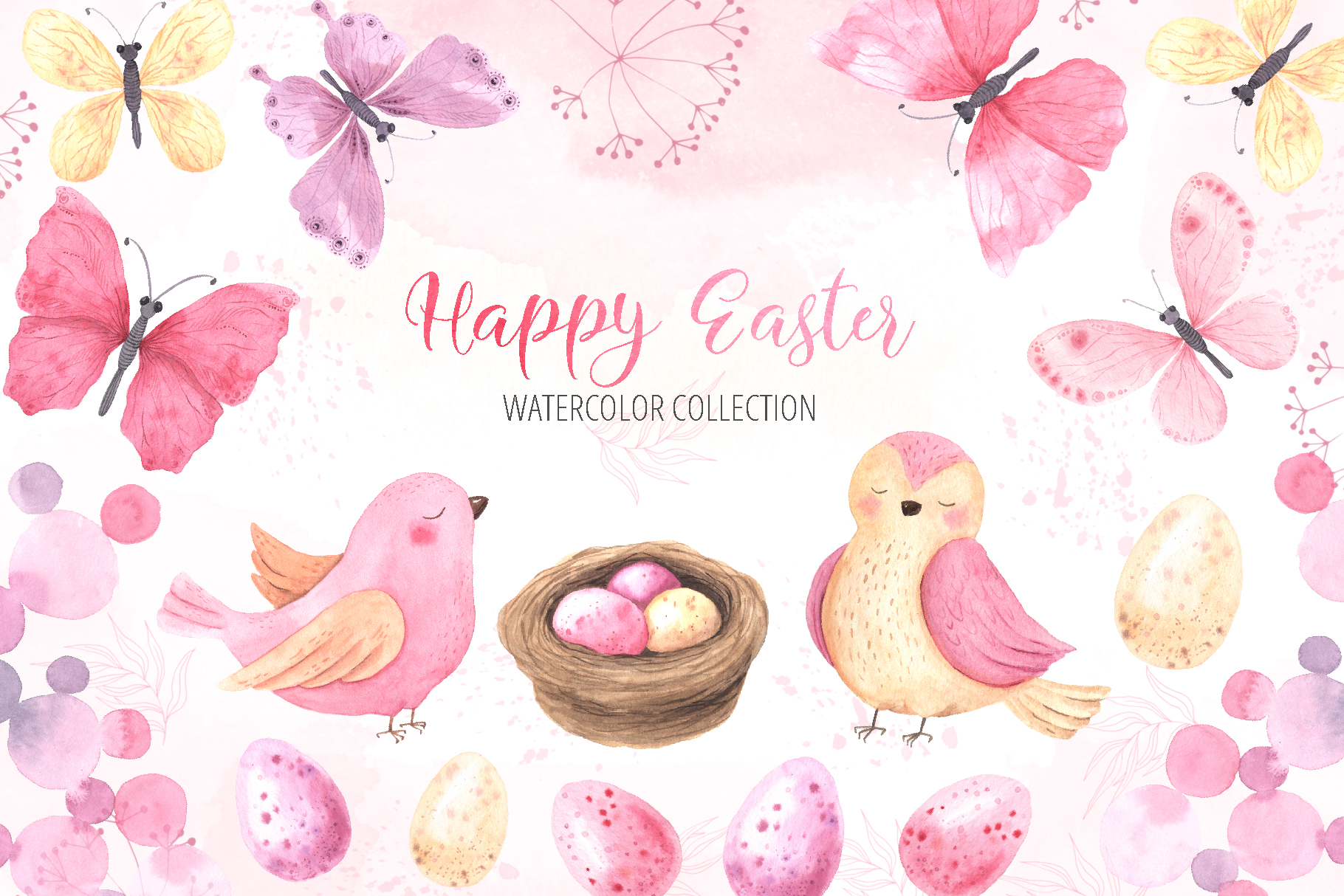 Watercolor Happy Easter Collection example image 1