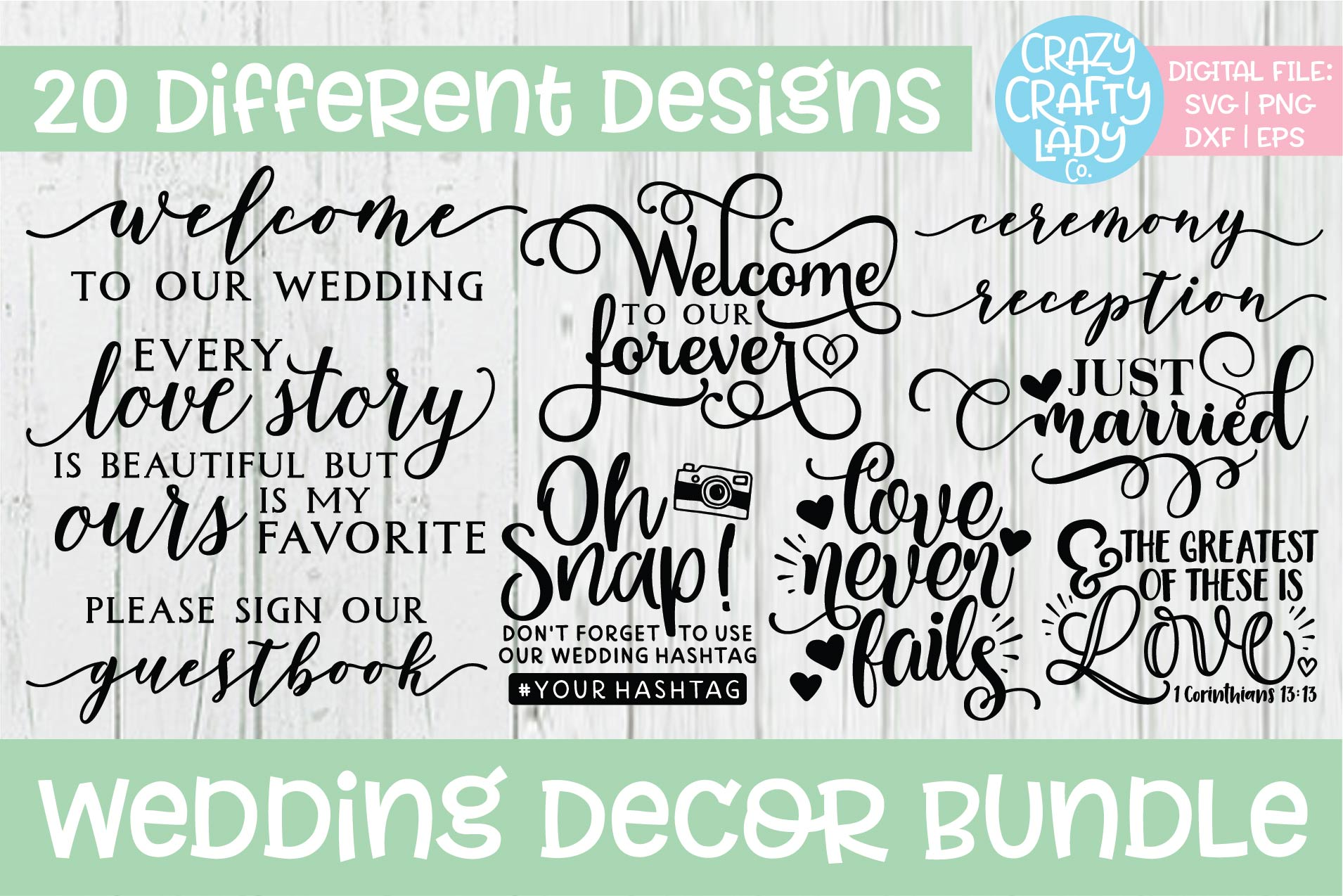 Wedding Decor SVG DXF EPS PNG Cut File Bundle example image 1