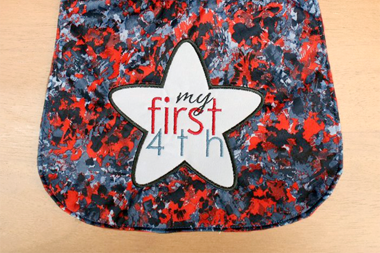 Baby's First 4th of July Applique Embroidery Design example image 1