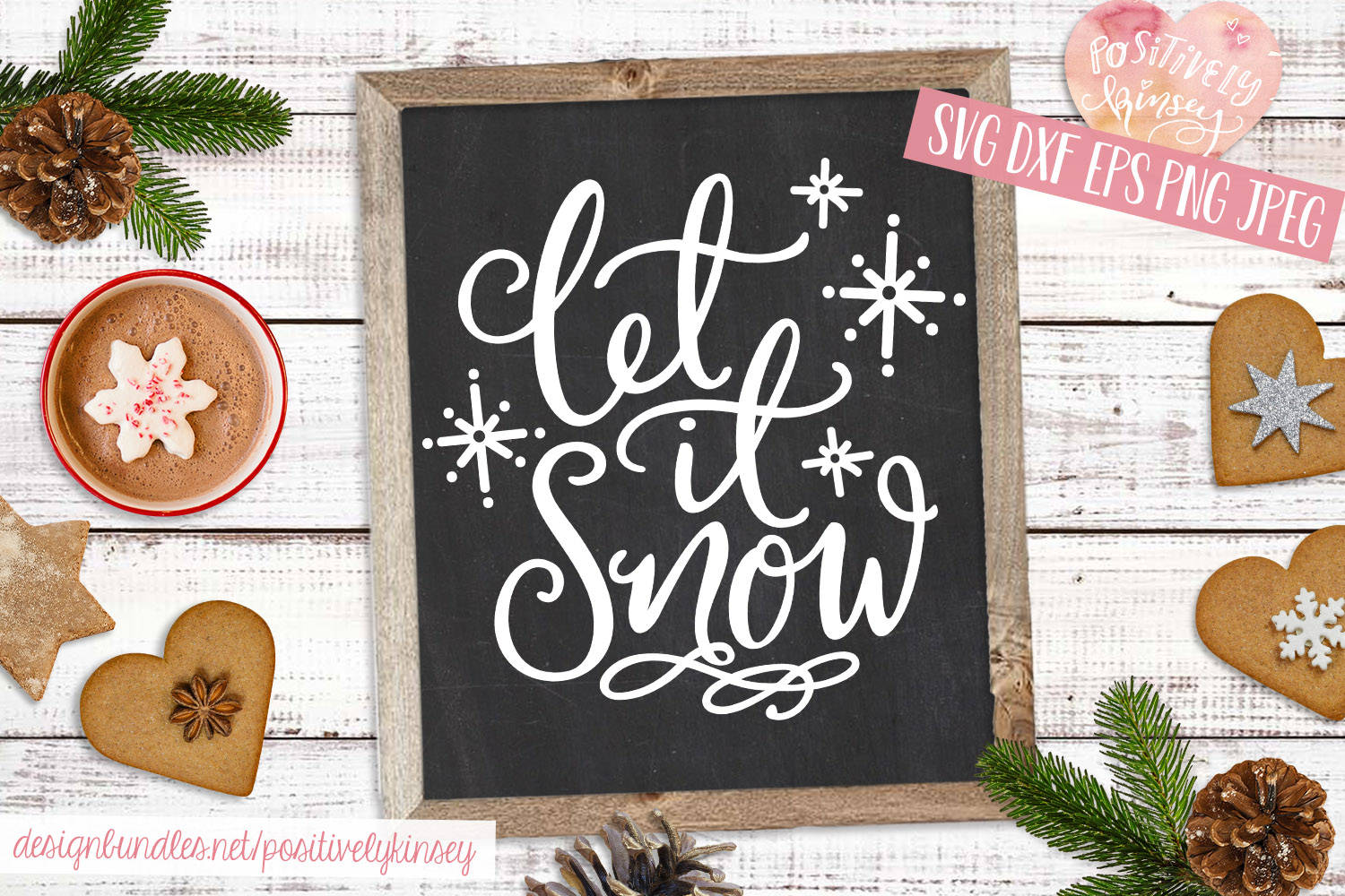 Let it Snow SVG Christmas Quote SVG DXF PNG EPS example image 4