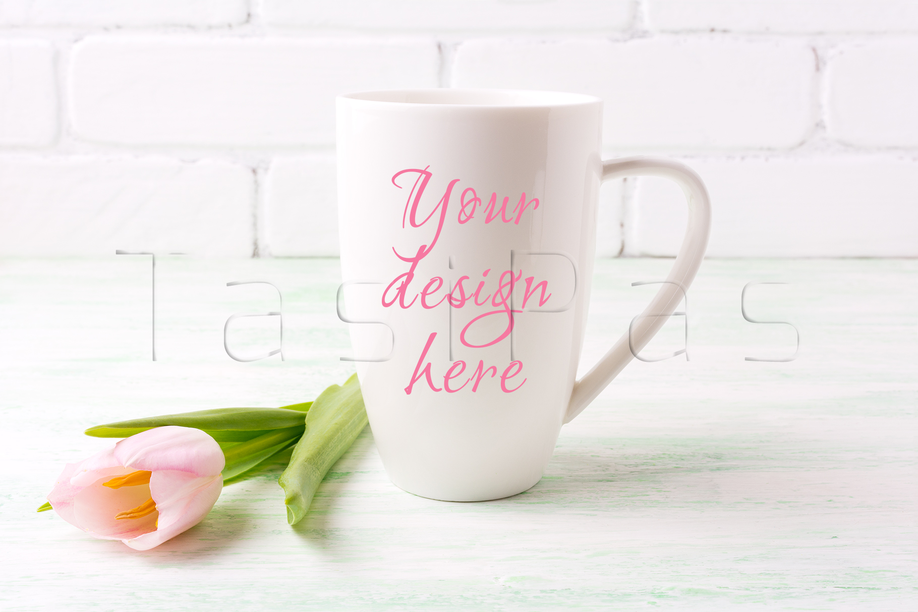 White coffee cappuccino mug mockup with tender pink tulip flower. example image 1
