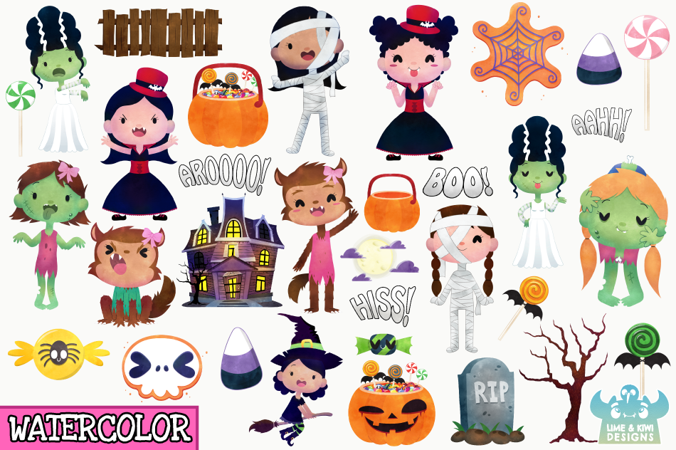 Halloween Trick Or Treaters Girls Watercolor Clipart example image 2