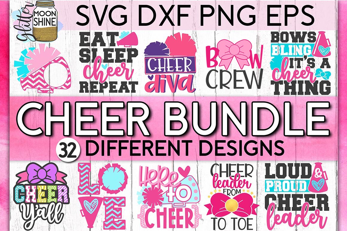 Cheerleading Bundle of 32 SVG DXF PNG EPS Cutting Files example image 1