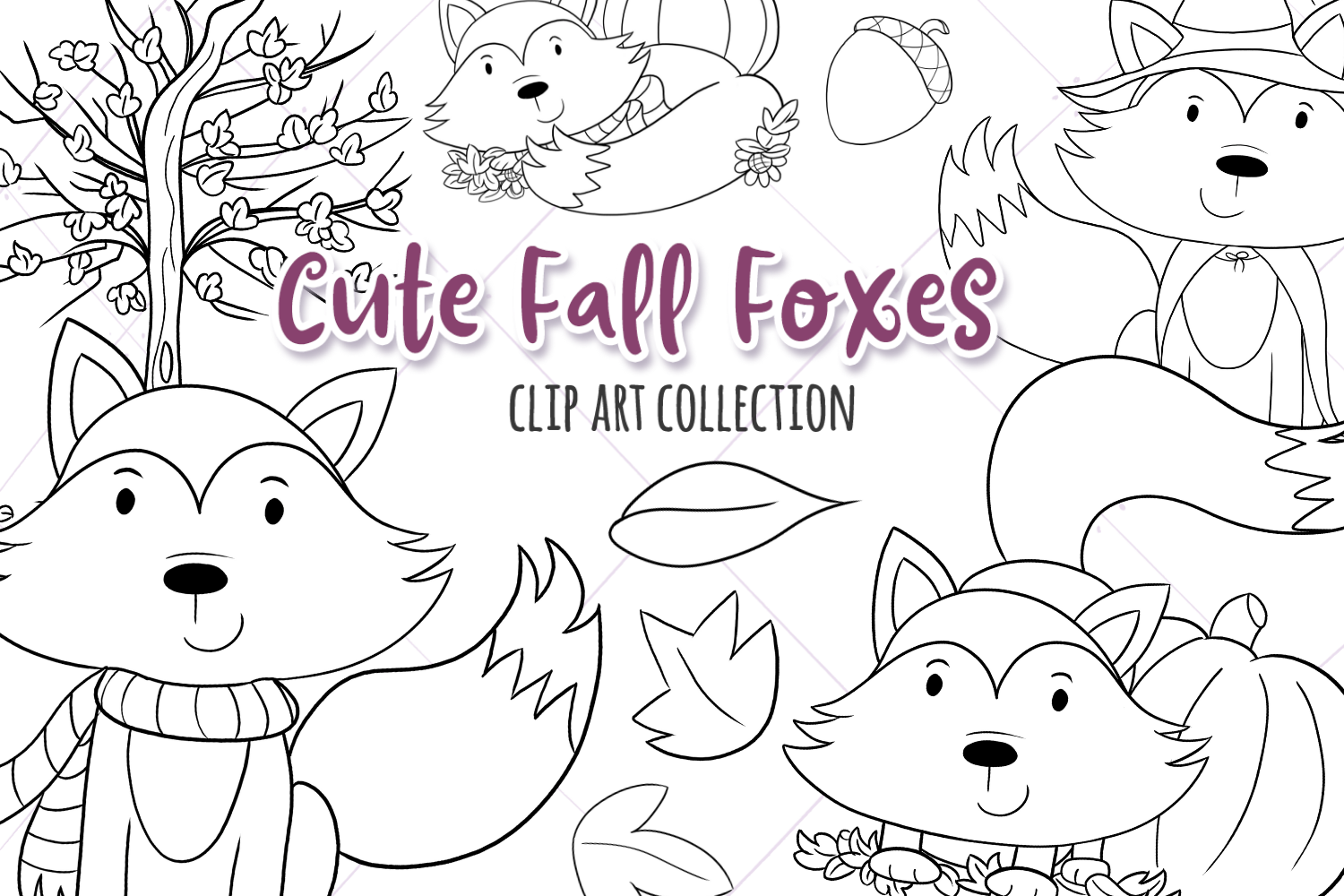 Fall Foxes Digital Stamps example image 1