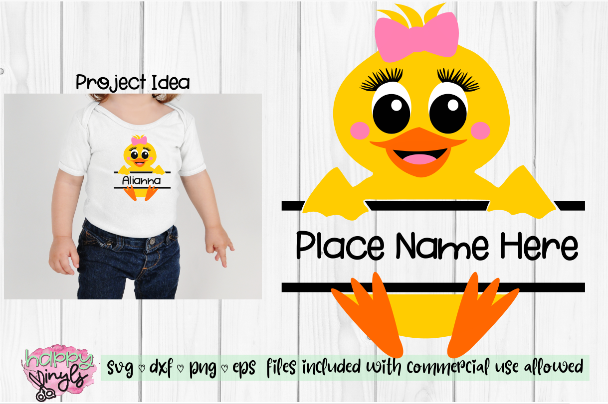 Baby Duck Personalize Design GIRL - An Easter SVG example image 1