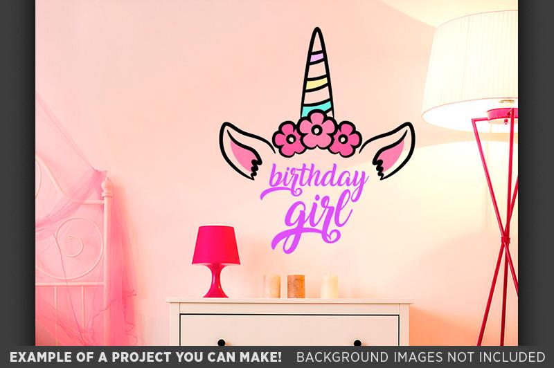 Birthday Girl SVG - Unicorn Birthday Girl SVG - 1013 example image 3