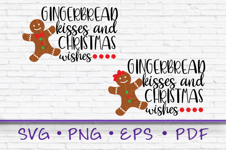 Gingerbread kisses, Gingerbread svg, gingerbread girl svg example image 1