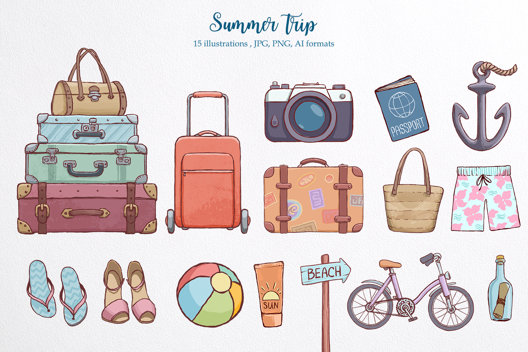 Summer time. Illustration pack. example image 3