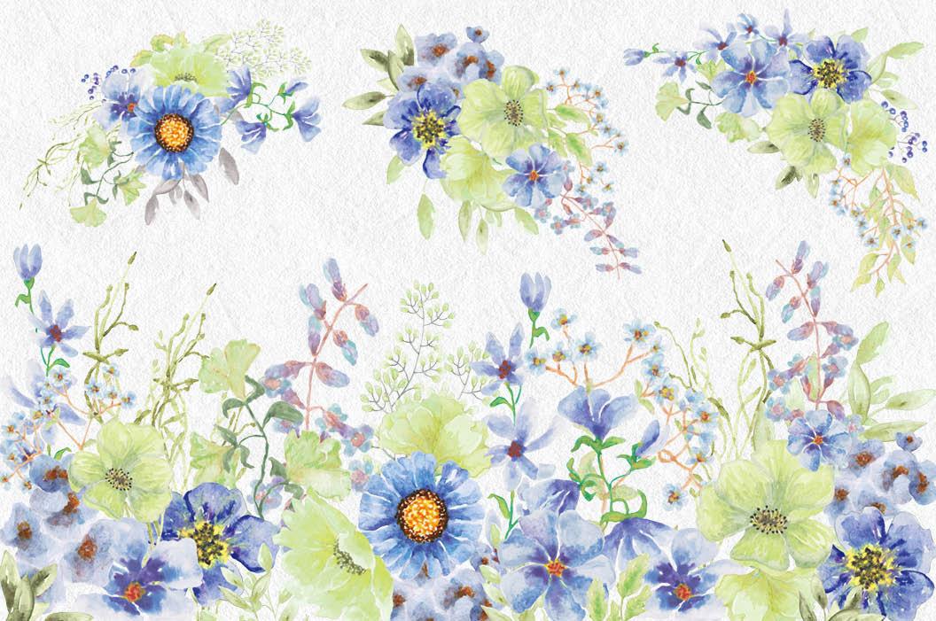 'Moody Blue' watercolor clip art bundle example image 3