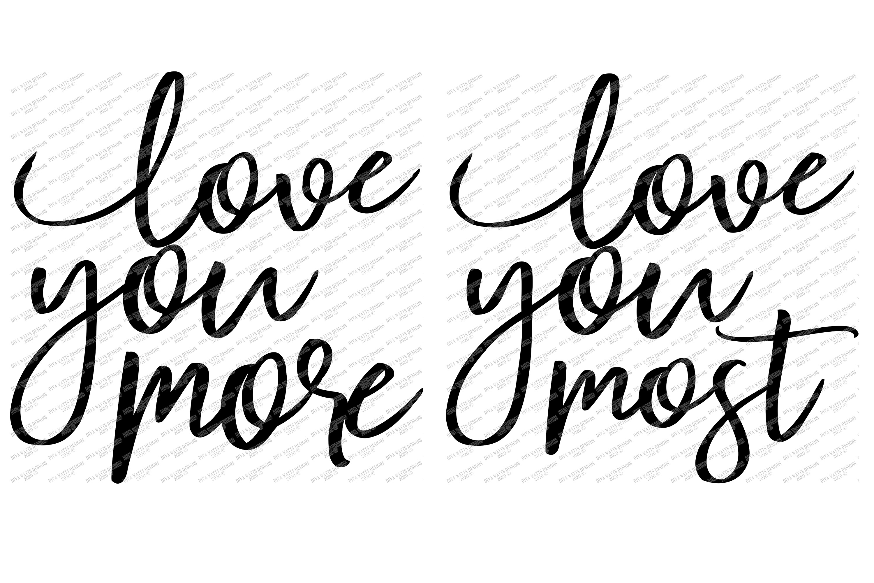 Download Love You More / Most - Set of 2 Modern Farmhouse Signs SVG