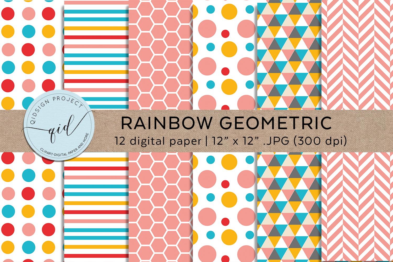 Rainbow Geometric Digital Paper Pattern example image 2