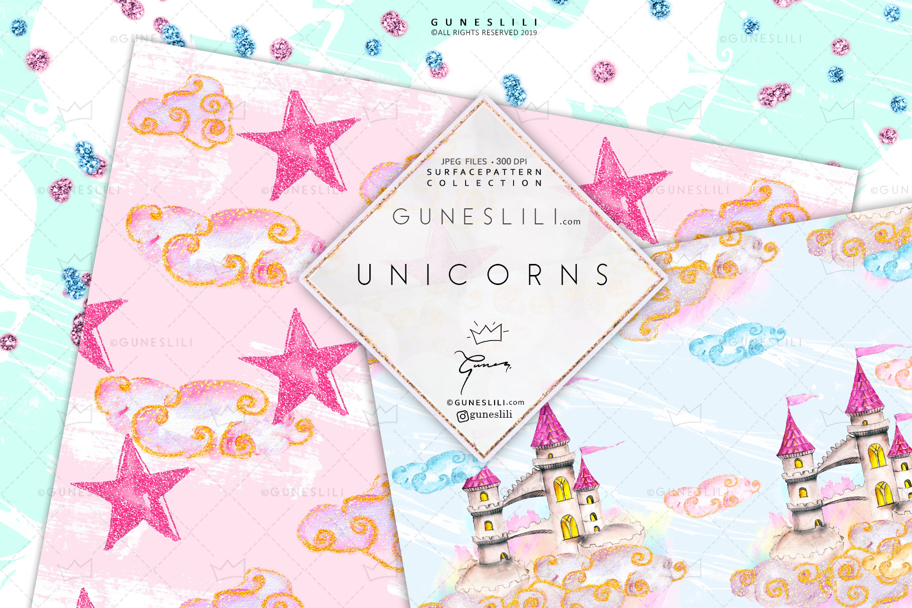 Pastel Unicorn Digital Pattern Pack Watercolor example image 5