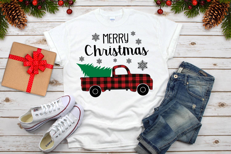 Merry Christmas Truck Svg, Buffalo Plaid Christmas Truck example image 3