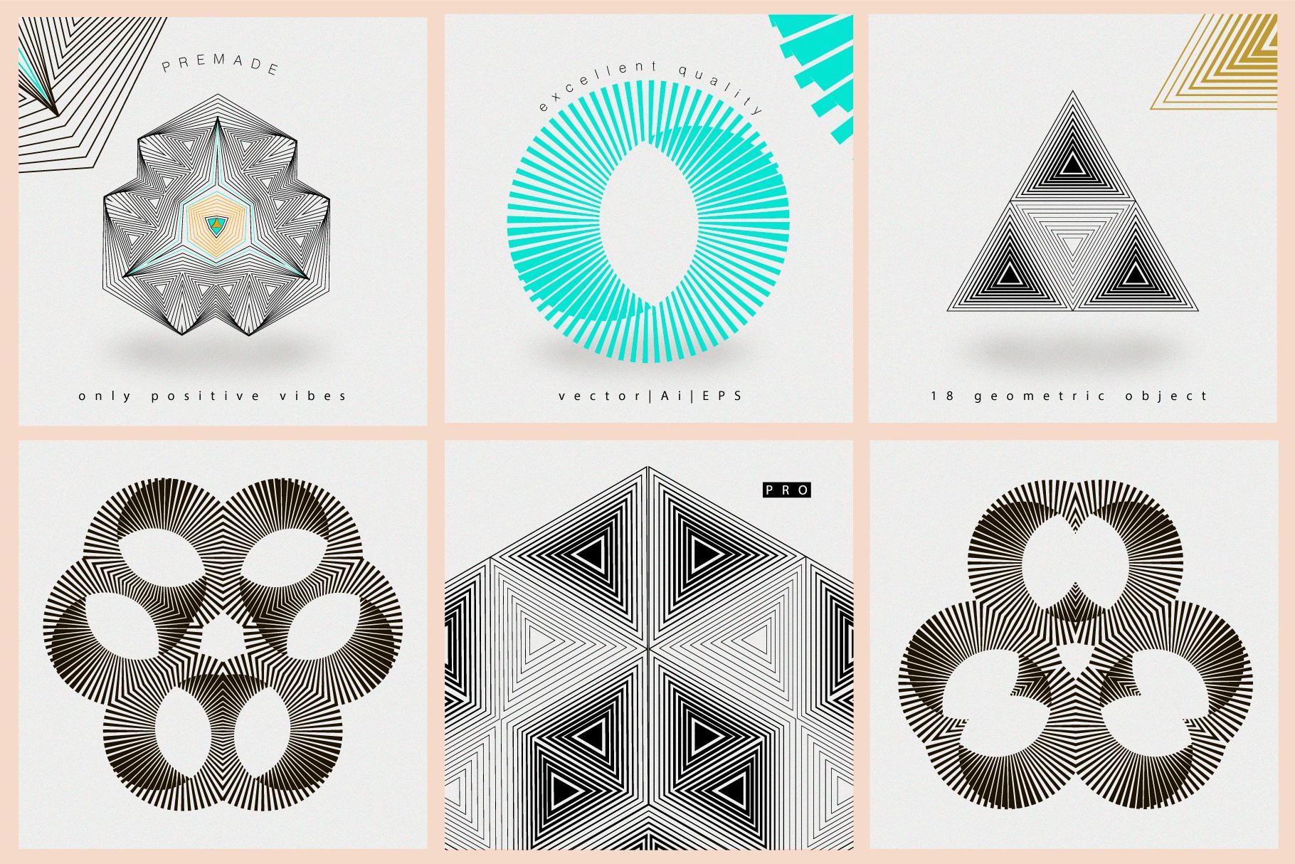 Illusion linear geometric shapes example image 9