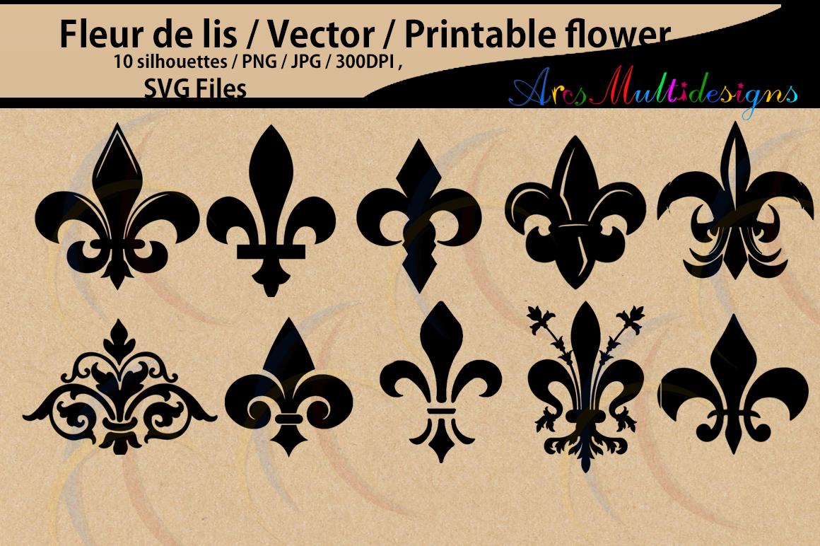 Fleur-de-lis silhouette / fleur de lis SVG Cutting Templates / Svg / Eps / Dxf / Png, / flower silhouette, Scrapbooking /svg / HQ example image 1