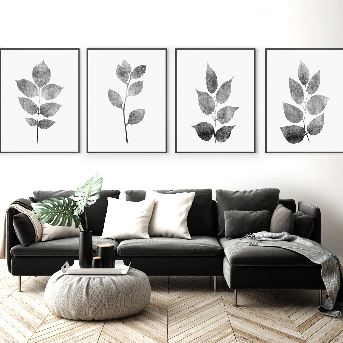 Plant Wall Art, Gray Wall Art, Leaves Wall Art, Grey Leaf example image 2