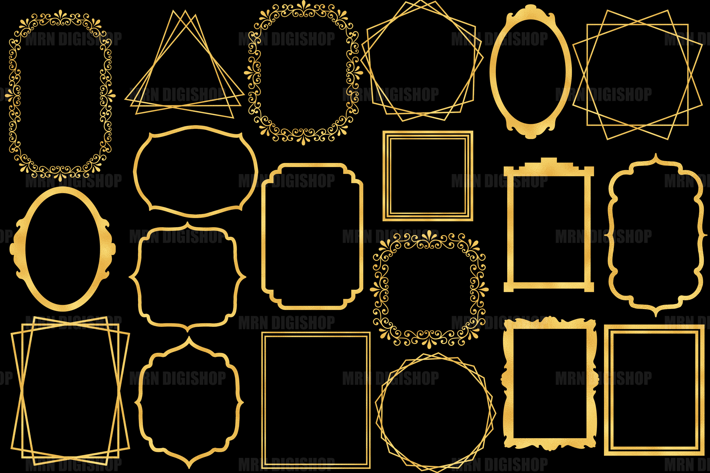 Gold Frames Clipart Set of 20 example image 2