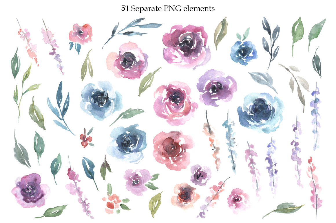 Watercolor Pink Blue Flowers Bouquets Frames example image 2