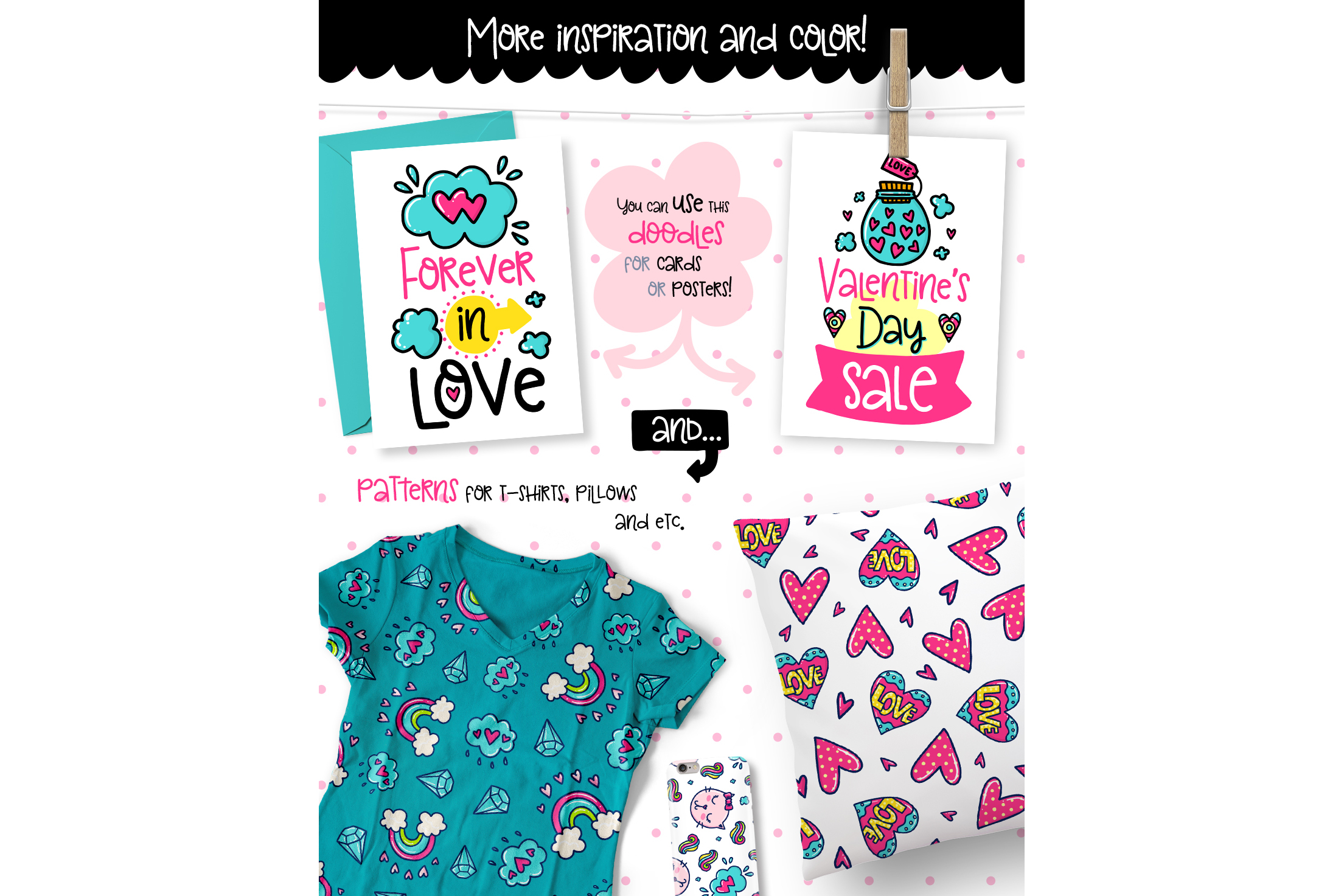 Valentine's Day Clipart & Patterns! example image 4
