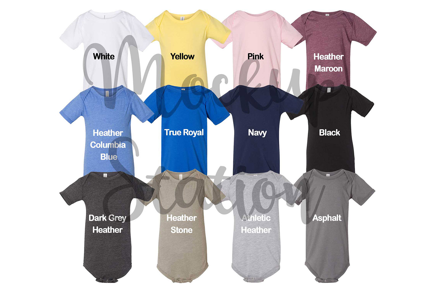 Color Chart for Bella Canvas 100B Baby Bodysuit Mockup example image 2