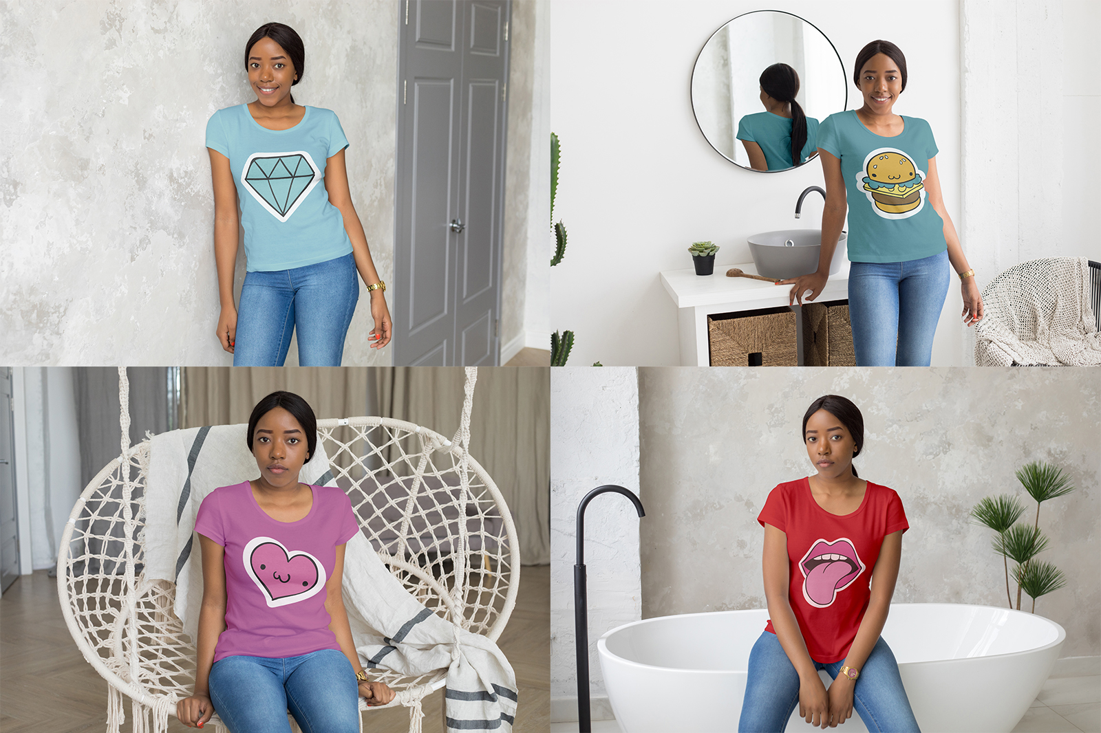 African Girl T-Shirt Mock-Up Set example image 7