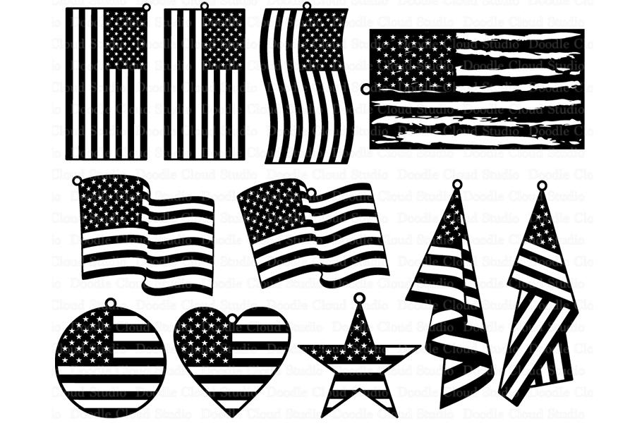 American flag silhouette. Earrings svg patriots pendant