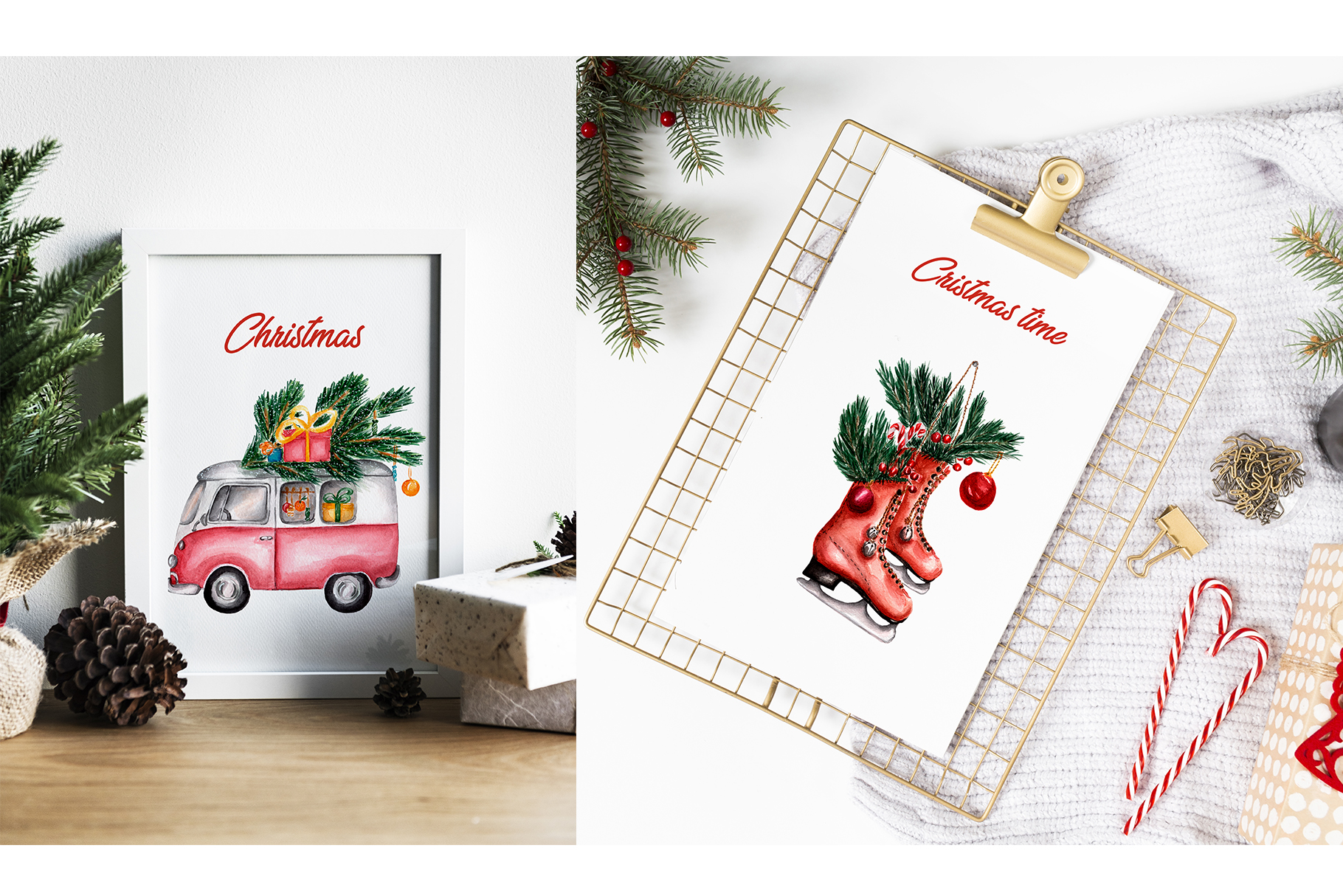 Watercolor Christmas Illustrations example image 5