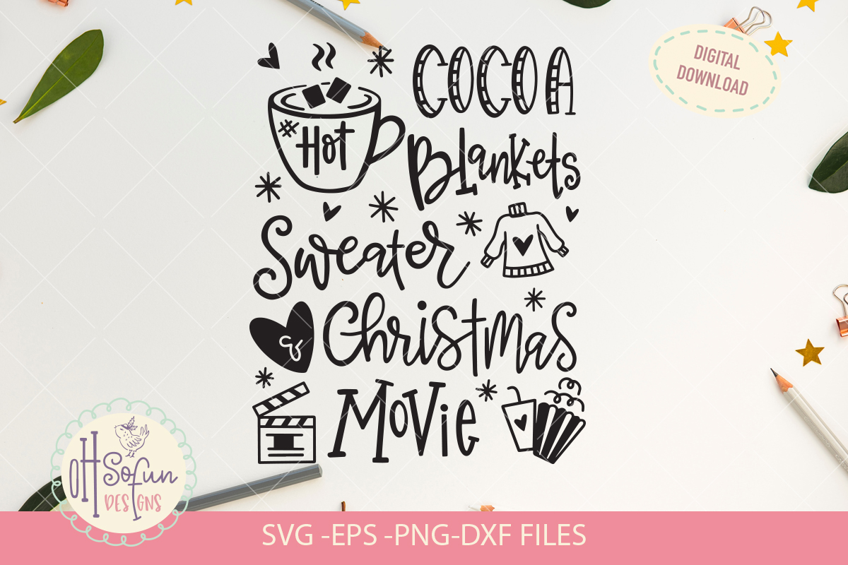 Hot cocoa blankets sweater Christmas movie, SVG example image 2