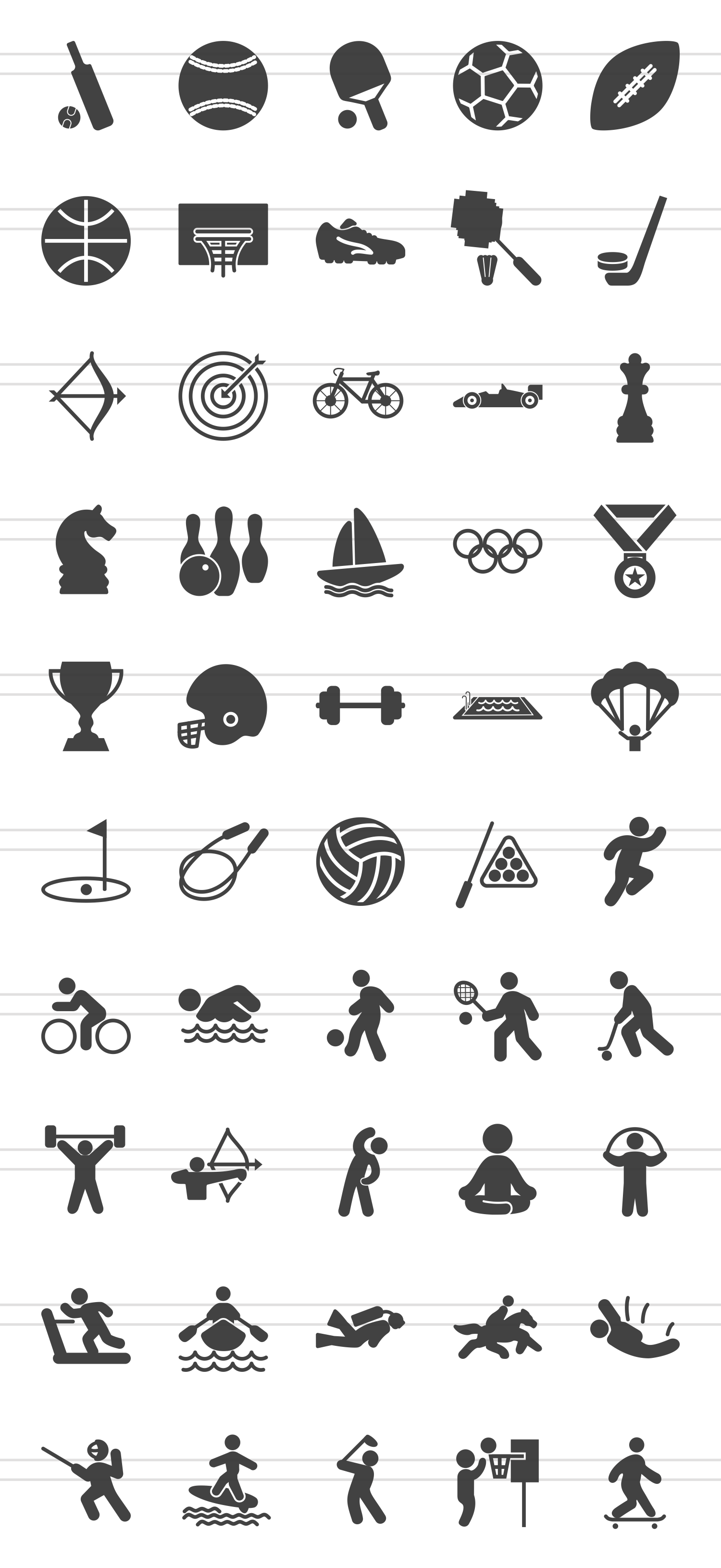 50 Fitness & Sports Glyph Icons example image 2