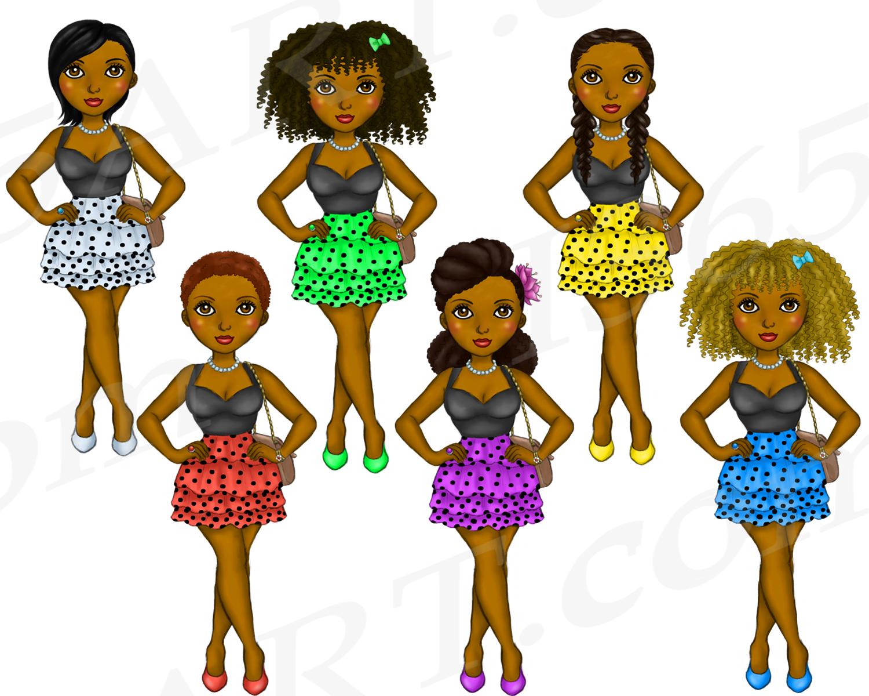 Polka Dot Dress Girls Clipart, Black Girl Dolls Fashion PNG example image 3