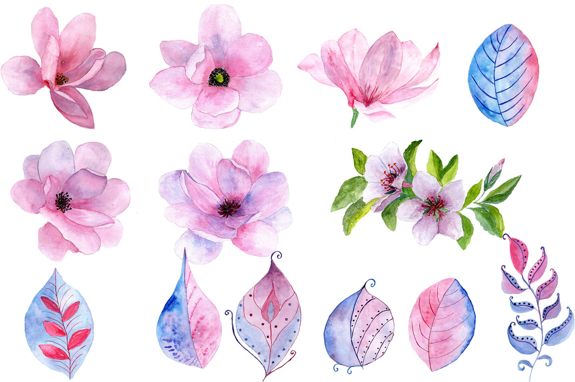Watercolor masks and flowers clipart example image 4