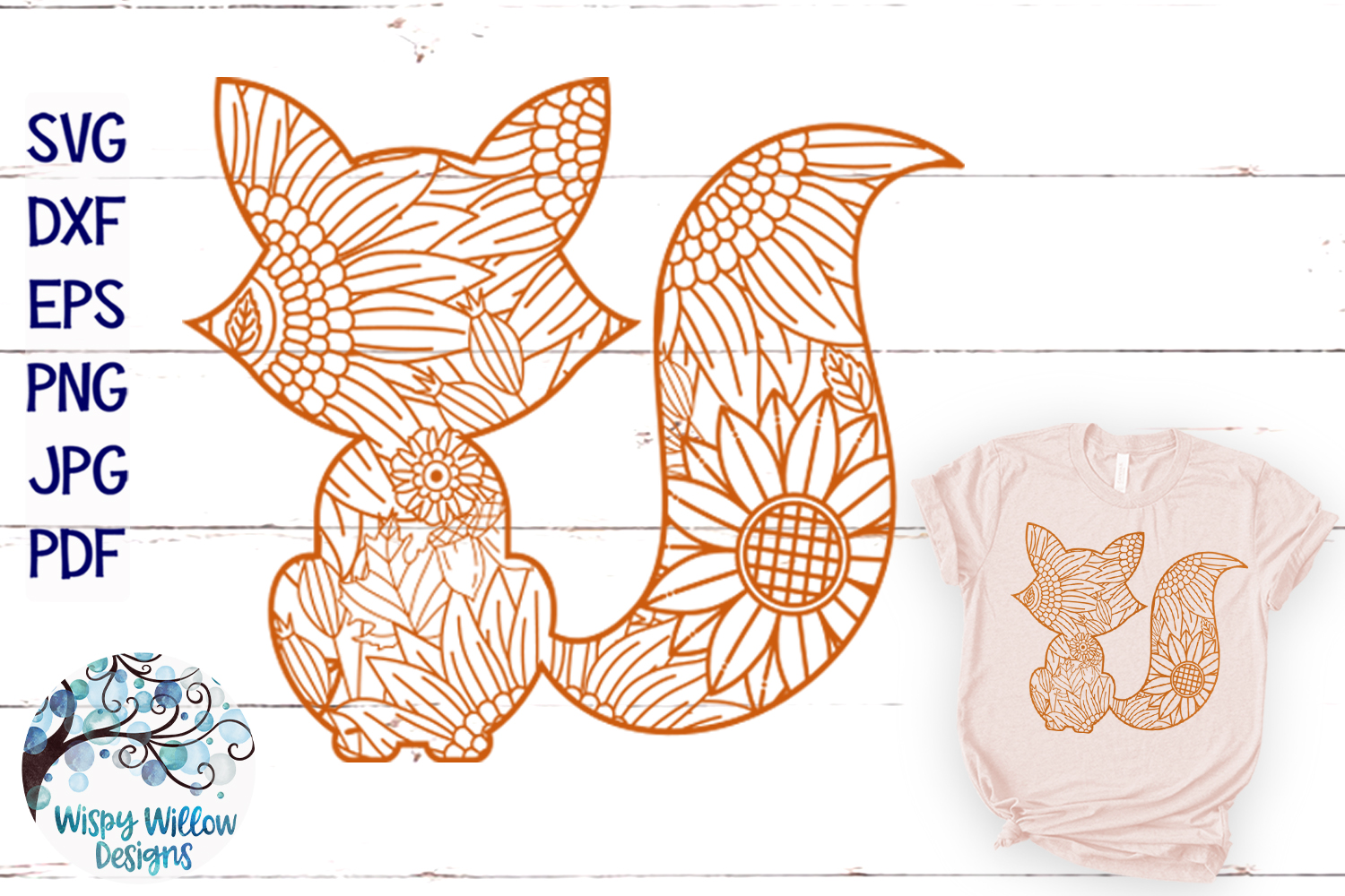 Fall Fox Zentangle SVG| Thanksgiving SVG | Fall SVG Cut File example image 1