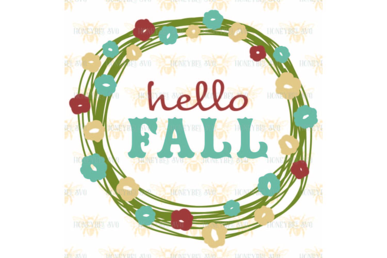 Hello Fall Pretty Wreath svg example image 2