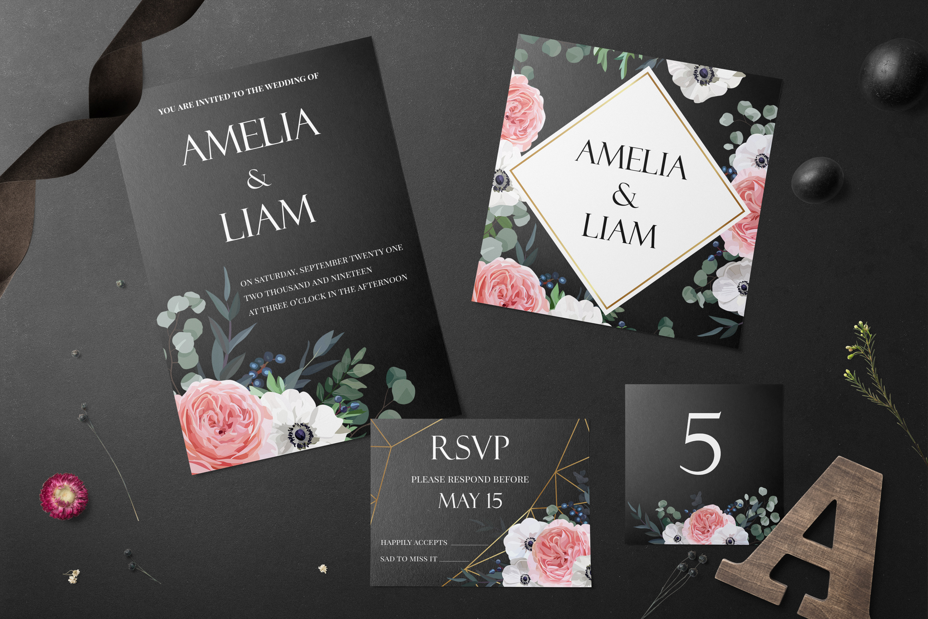 Garden Rose and Anemone - floral vector set example image 2