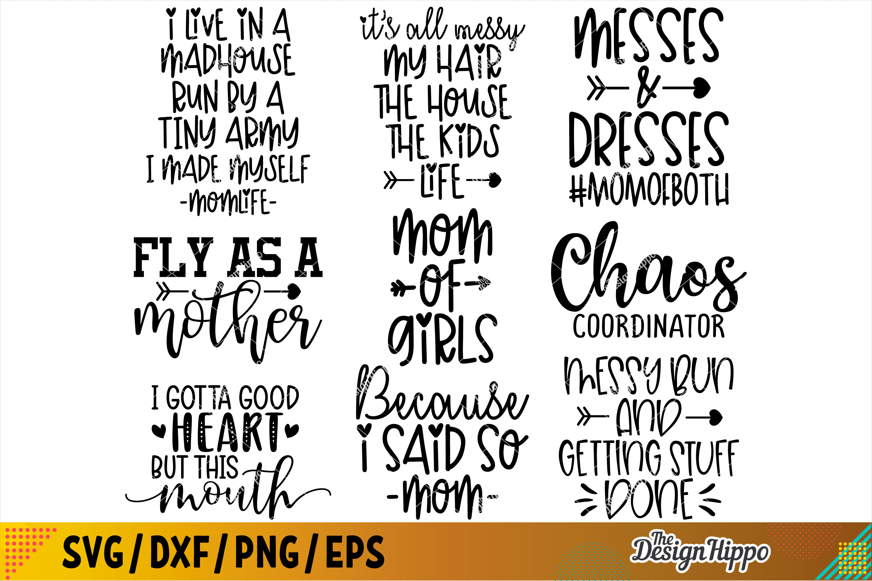 Funny Mom SVG Bundle of 30 Designs, DXF PNG Cricut Cut Files example image 3