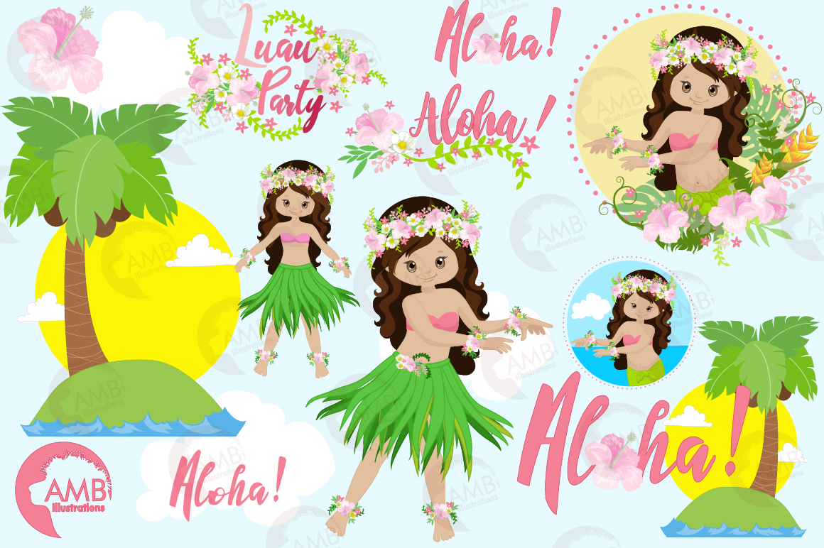 Hawaiian dancers, Luan party, clipart, graphics, illustrations AMB-1411 example image 5