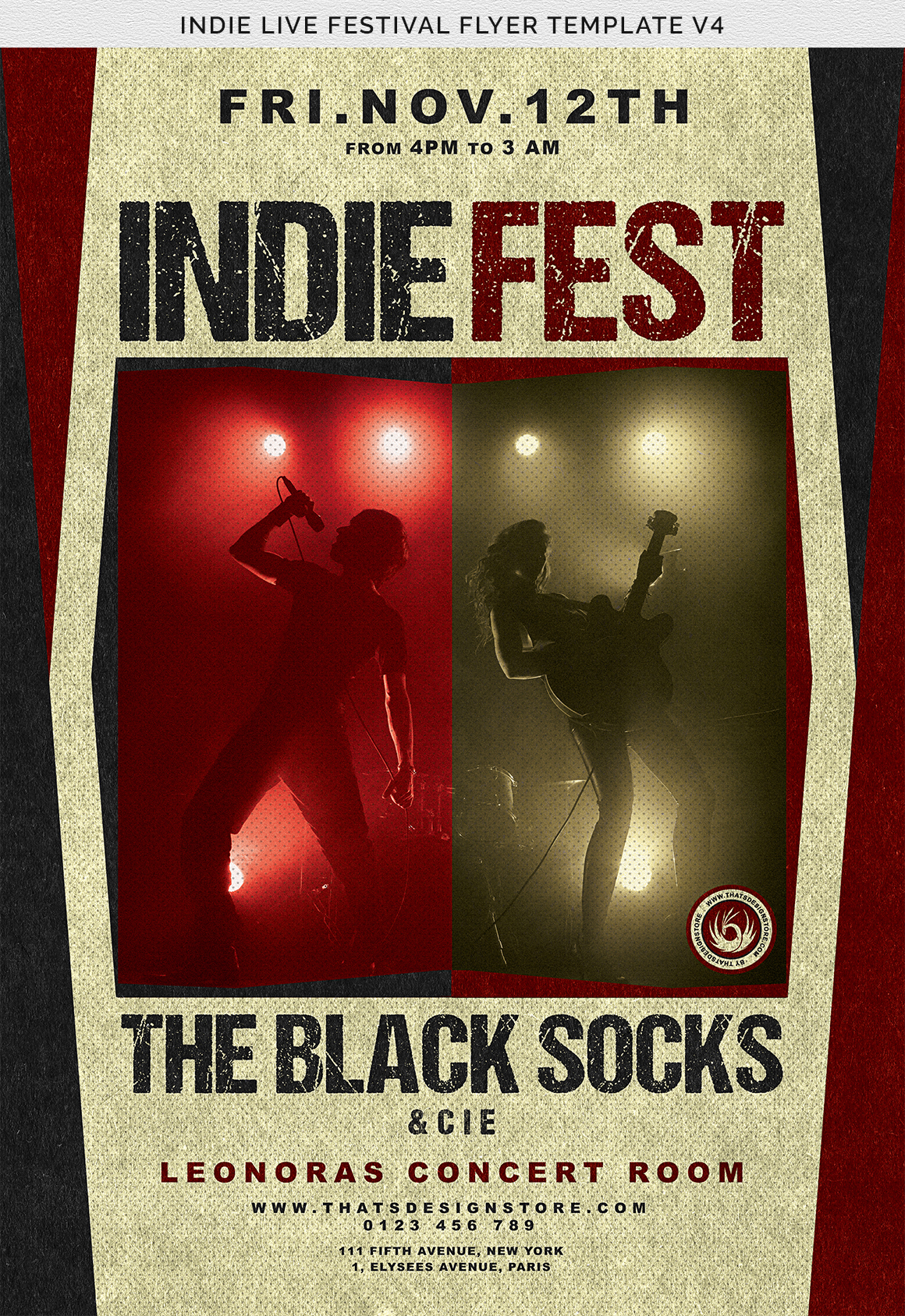 Indie Live Festival Flyer Template V4 example image 8