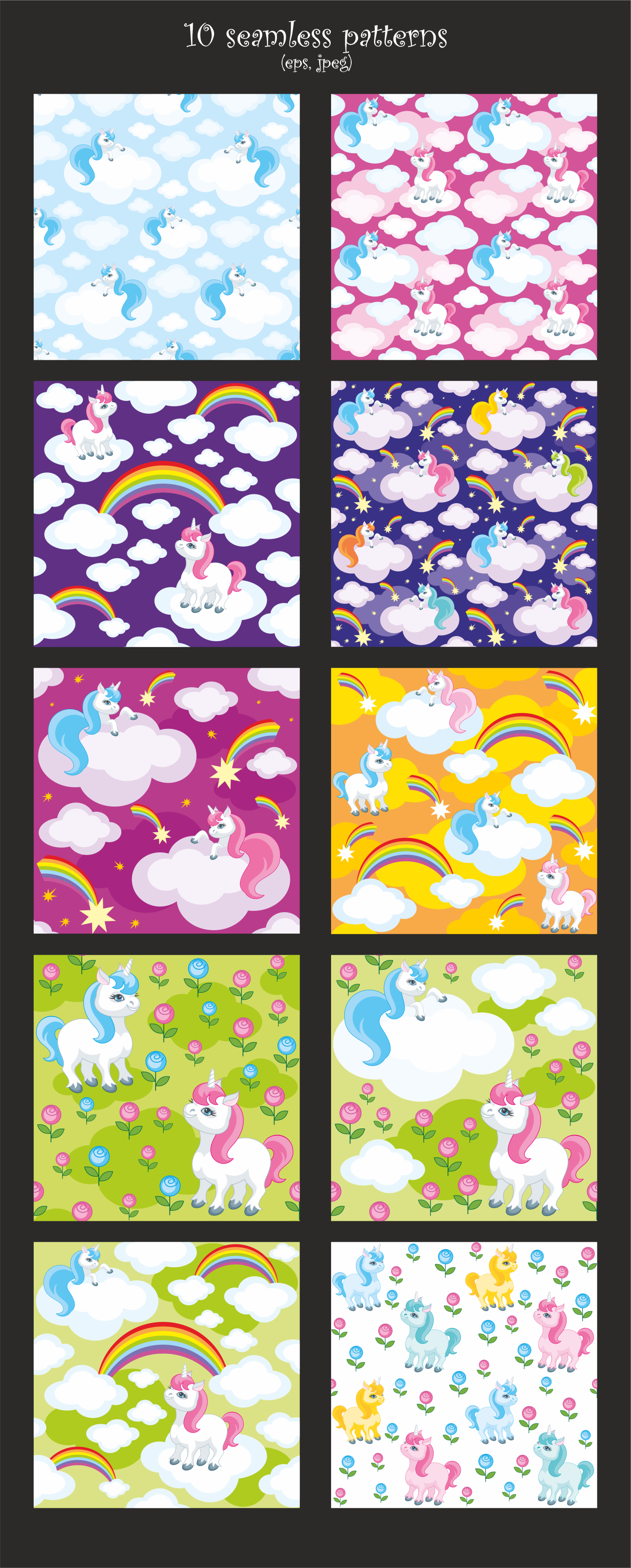 Little unicorns. Vector clip arts and patterns. example image 3