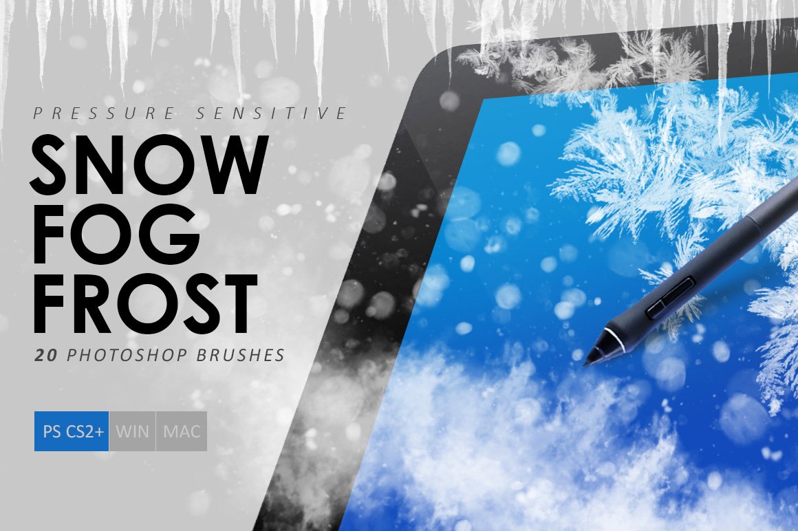 Snow, Fog, Frost Photoshop Brushes example image 1