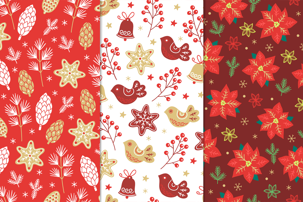 12 Christmas Seamless Patterns example image 4