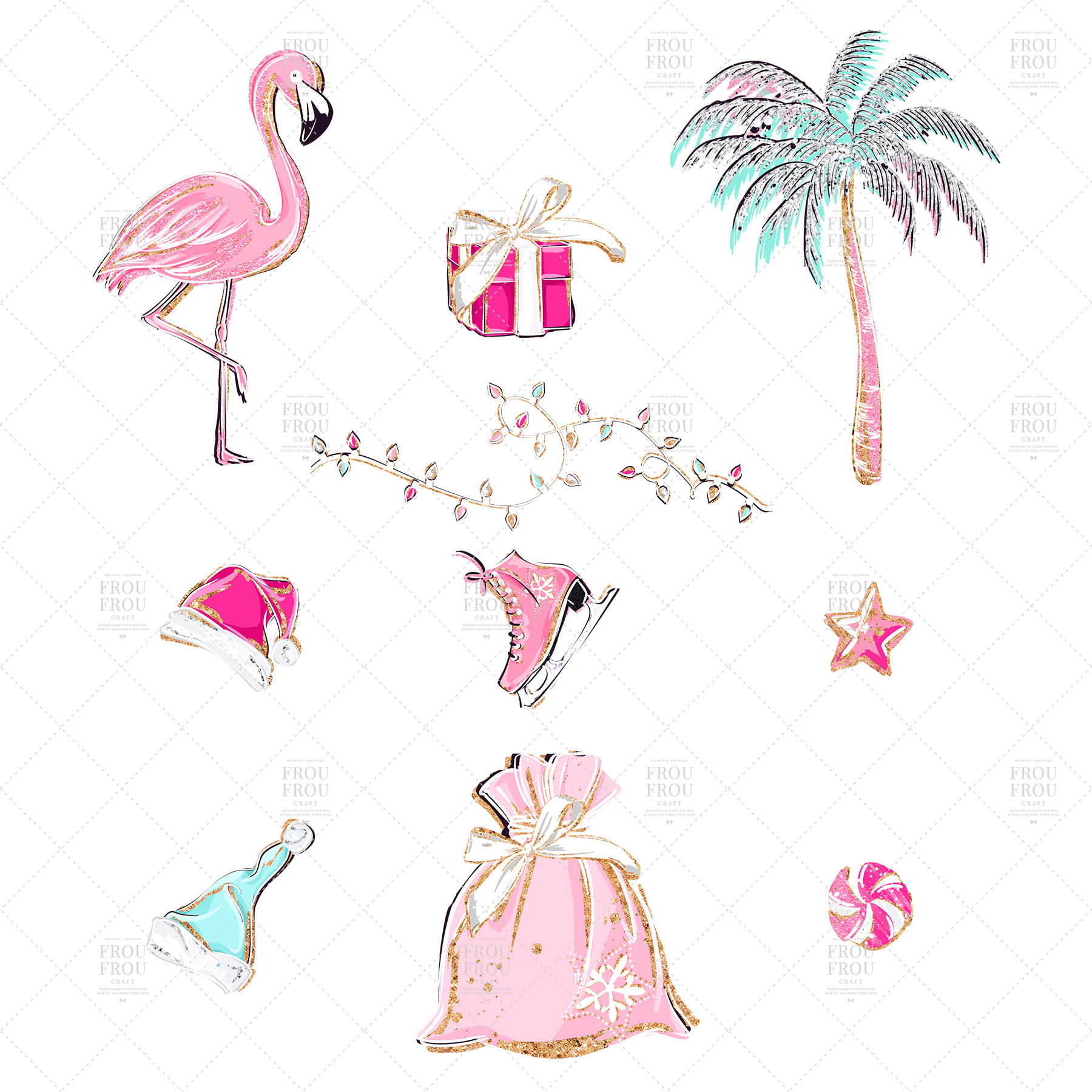 Pink Flamingo Christmas Presents Glitter Clip Art example image 7