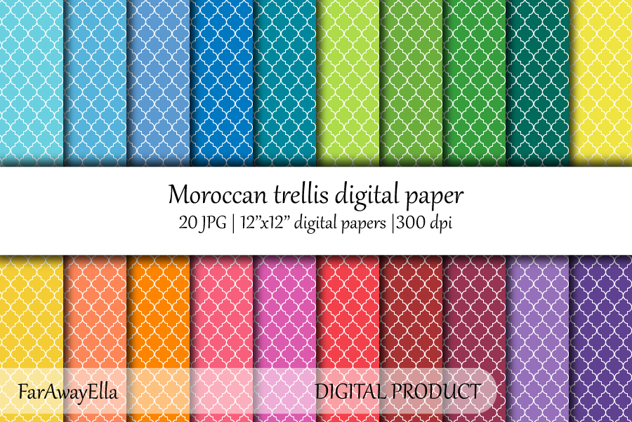 Moroccan trellis digital paper | 20 JPG seamless papers example image 1