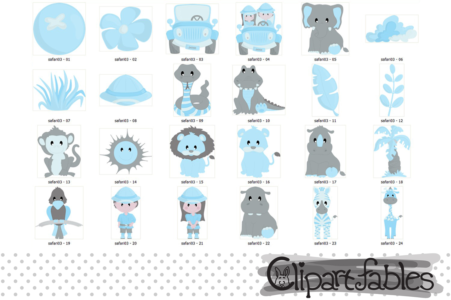 Blue safari clipart, Baby boy shower party for Baby Boys example image 2