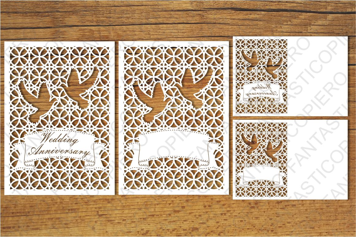 Wedding Anniversary 1 and Greeting card blank SVG files. example image 1