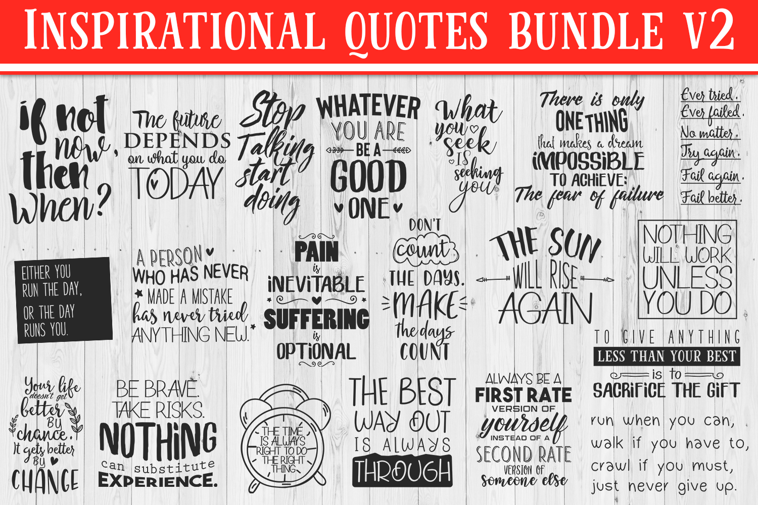 SALE! 20 Inspirational quotes bundle V2, motivational Quotes example image 1