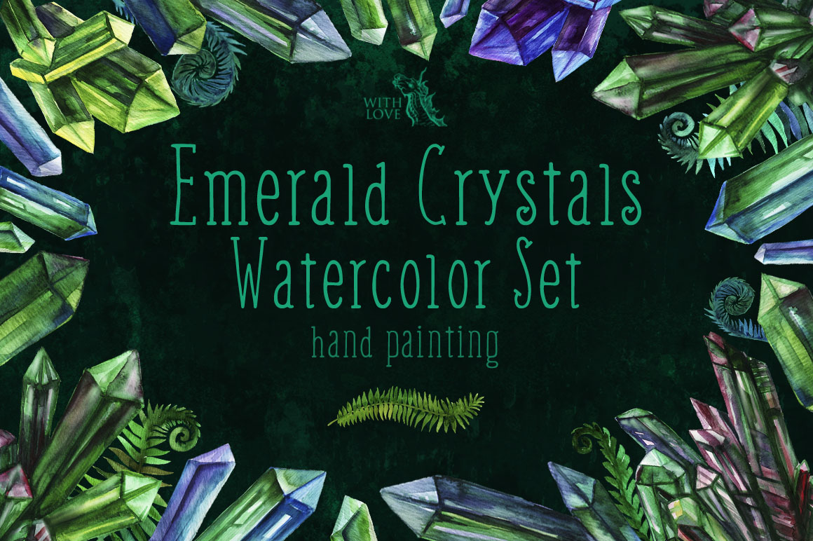 Emerald Crystals Watercolor Set example image 1