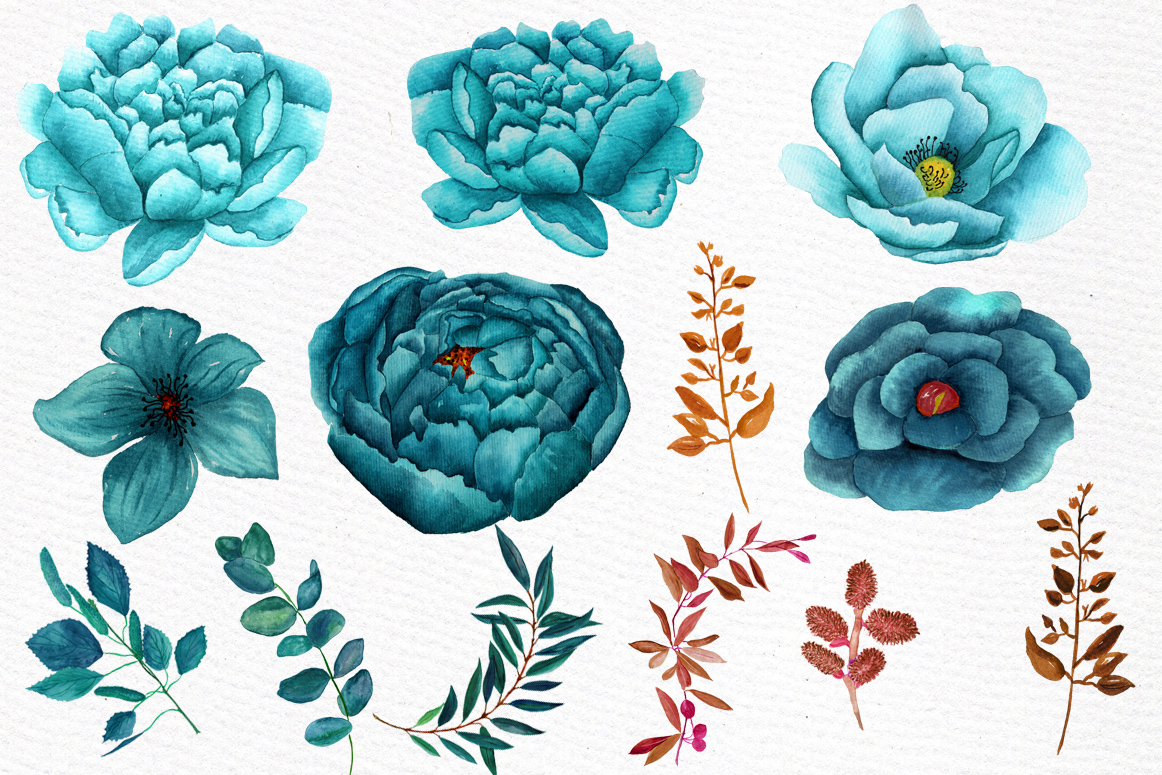 Watercolor teal flowers clipart example image 3