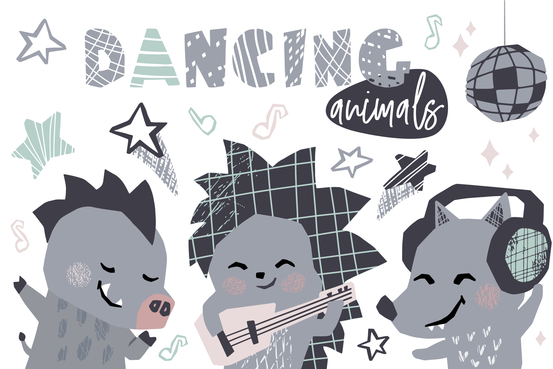 Dancing animals. Music kids vector example image 1