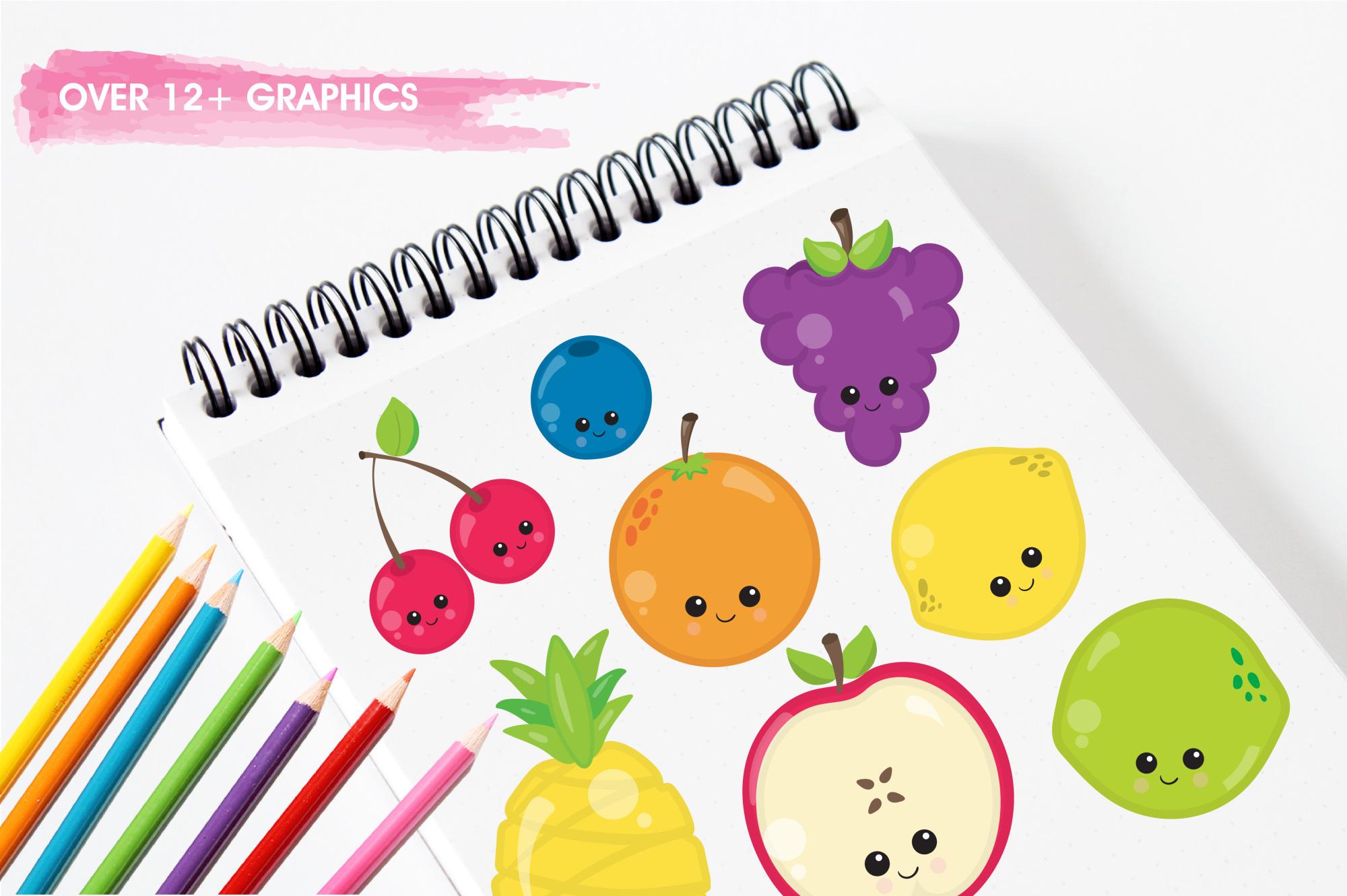 Kawaii Fruits  graphics and illustrations example image 3