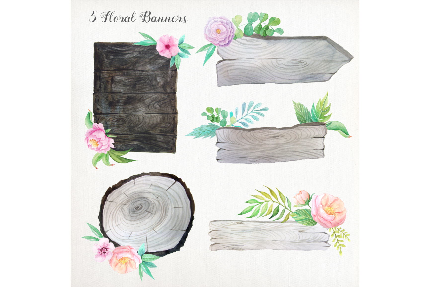 Shabby Chic Watercolor Pack example image 4